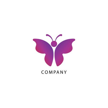 Colorful butterfly logo design template illustrated from the top. Animal Logo Concept Isolated on white background. Purple Magenta Gradation Color. Suitable for beauty and fashion product. Pictorial Logotype.