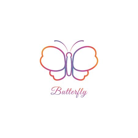 Abstract Butterfly logo design template with oulined wings shape. Animal Logo Concept Isolated on white background. Orange Magenta Violet Gradation Color. Suitable for beauty and fashion product. Pictorial Logotype.