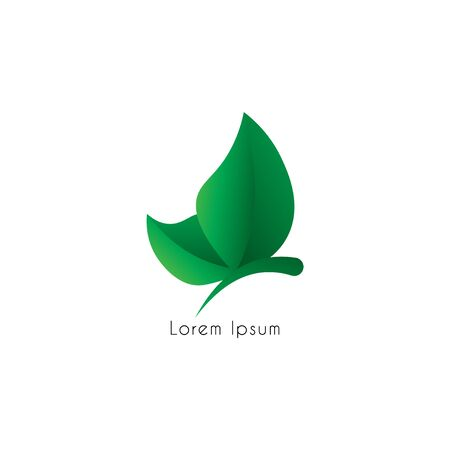 Abstract Flying Leaf Butterfly logo design template. Animal Logo Concept Isolated on white background. Colorful of Green Gradation color. Suitable for beauty and fashion product. Pictorial Logotype. Foto de archivo - 143290586