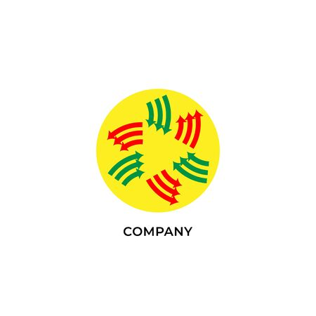 Three layers of red and green arrows with yellow ellipse shape behind. Circulation logo design template. Recycle logo concept isolated on white background