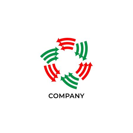 Three layers of circulation red and green arrows. Logo design template. Recycle logo concept isolated on white background Logo