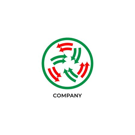 Two layers of red and green arrows inside circle. Circulation logo design template. Recycle logo concept isolated on white background