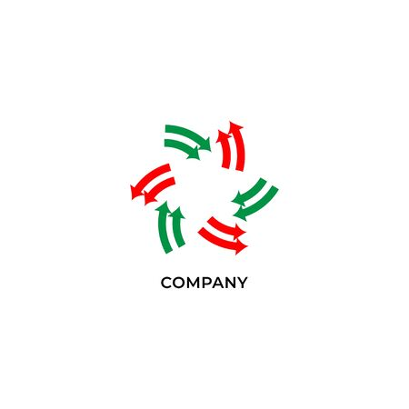 Two layers of red and green arrows. Circulation logo design template. Recycle logo concept isolated on white background