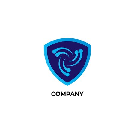 Blue guard sign illustration with vortex icon inside. Logo Design Template. Disaster Guard Logo Concept isolated on white background Logo