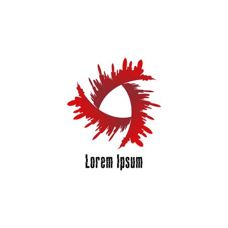 Abstract blood splash vortex illustration. Horror logo design template. War, Anarchy logo concept isolated on white background
