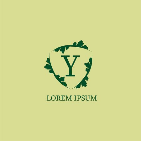 Letter Y alphabetic logo design template. Decorative floral shield sign illustration isolated on green beige color. Nature Guard, Security logo concept.