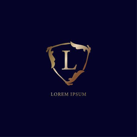 Letter L Alphabetic logo design template. Luxury metalic gold security logo concept.  isolated on navy blue backgroud. Decorative floral shield sign illustration Ilustrace
