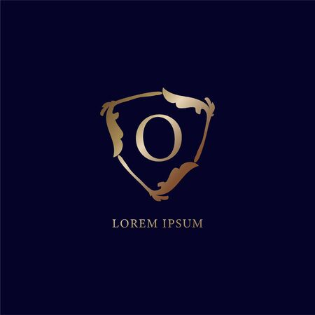Letter O Alphabetic logo design template isolated on navy blue backgroud. Decorative floral shield sign illustration. Luxury metalic gold security logo concept.