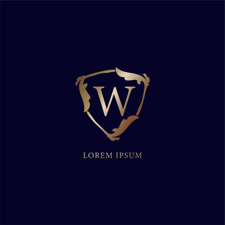 Letter W Alphabetic logo design template. Luxury metalic gold security logo concept. isolated on navy blue backgroud. Decorative floral shield sign illustration. 向量圖像
