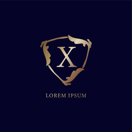 Letter X Alphabetic logo design template. Luxury metalic gold security logo concept. Decorative floral shield sign illustration isolated on navy blue backgroud. 向量圖像