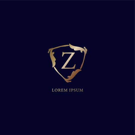 Letter Z Alphabetic logo design template. Luxury metalic gold security logo concept. Decorative floral shield sign illustration isolated on navy blue backgroud. 向量圖像