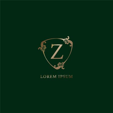 Letter Z Alphabetic logo design template. Insurance logo concept isolated on dark green background. Luxury gold decorative floral shield sign illustration.