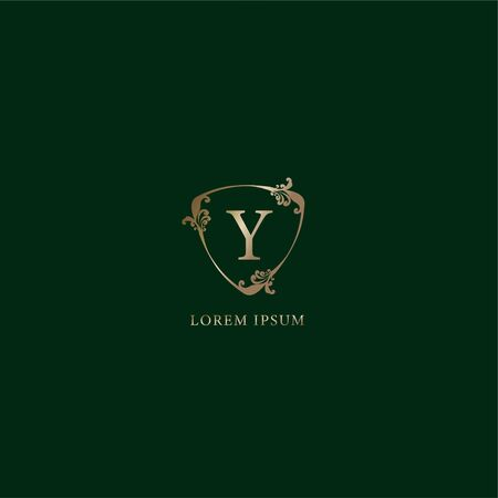 Letter Y Alphabetic logo design template. Insurance logo concept isolated on dark green background. Luxury gold decorative floral shield sign illustration.