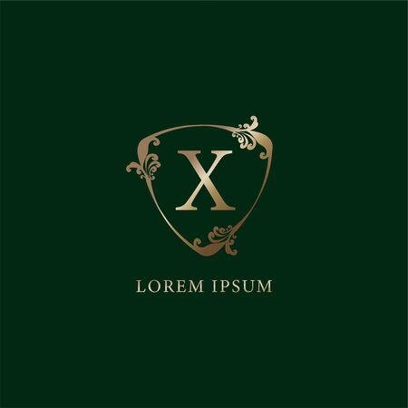 Letter X Alphabetic logo design template.  Luxury gold decorative floral shield sign illustration. Insurance logo concept isolated on dark green background.