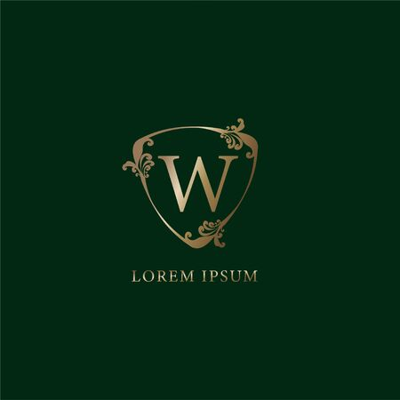 Letter W Alphabetic logo design template.  Luxury gold decorative floral shield sign illustration. Insurance logo concept isolated on dark green background.