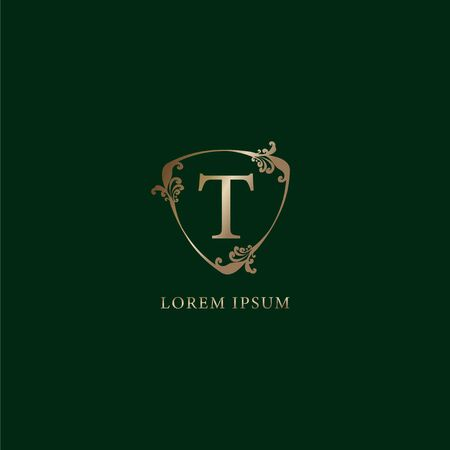 Letter T Alphabetic logo design template. Luxury gold decorative floral shield sign illustration isolated on dark green background. Insurance logo concept. 向量圖像