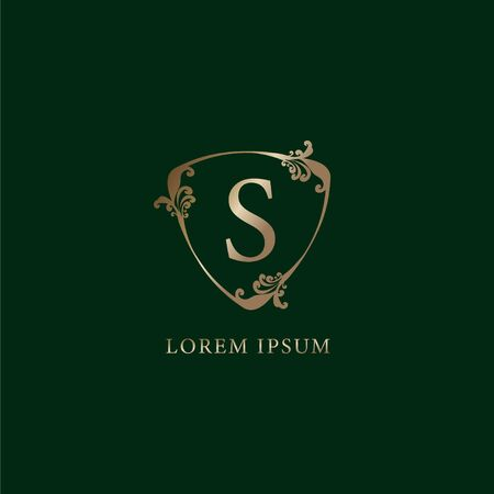 Letter S Alphabetic logo design template. Luxury gold decorative floral shield sign illustration isolated on dark green background. Insurance logo concept.
