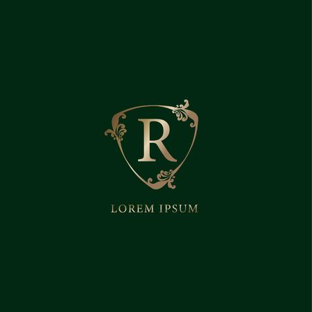 Letter R Alphabetic logo design template. Luxury gold decorative floral shield sign illustration isolated on dark green background. Insurance logo concept.