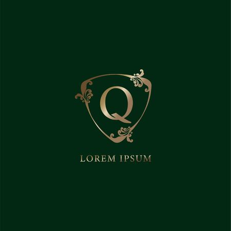 Letter Q Alphabetic logo design template. Luxury gold decorative floral shield sign illustration. Insurance logo concept isolated on dark green background
