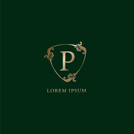 Letter P Alphabetic logo design template. Luxury gold decorative floral shield sign illustration. Insurance logo concept isolated on dark green background 向量圖像