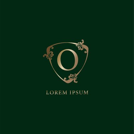 Letter O Alphabetic logo design template.  Luxury gold decorative floral shield sign illustration. Insurance logo concept isolated on dark green background.