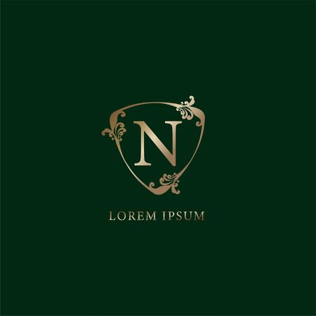 Letter N Alphabetic logo design template. Insurance logo concept isolated on dark green background. Luxury gold decorative floral shield sign illustration.