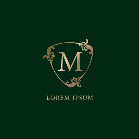 Letter M Alphabetic logo design template.  Luxury gold decorative floral shield sign illustration. Insurance logo concept isolated on dark green background.