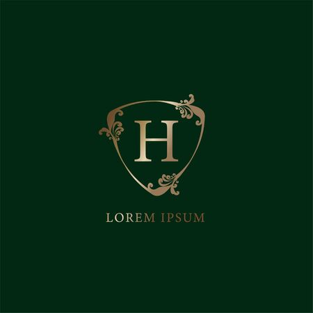 Letter H Alphabetic logo design template. Luxury gold decorative floral shield sign illustration. Insurance logo concept isolated on dark green background,