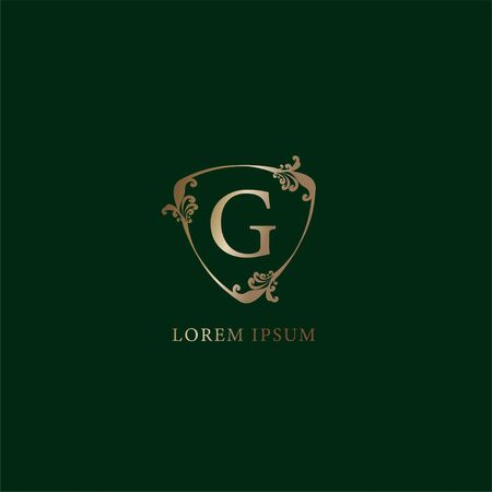 Letter G Alphabetic logo design template. Luxury gold decorative floral shield sign illustration isolated on dark green background. Insurance logo concept