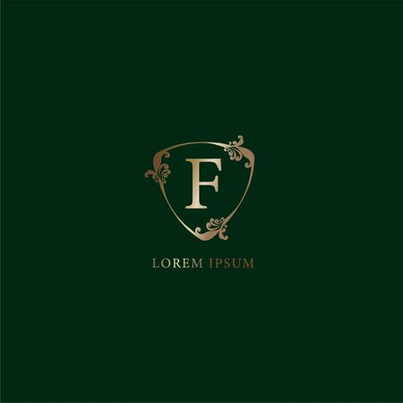Letter F Alphabetic logo design template. Luxury gold decorative floral shield sign illustration isolated on dark green background. Insurance logo concept