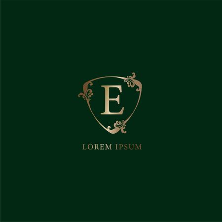 Letter E Alphabetic logo design template. Luxury gold decorative floral shield sign illustration. Insurance logo concept isolated on dark green background.