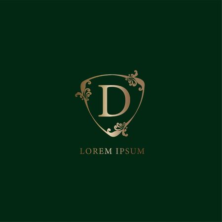 Letter D Alphabetic logo design template. Insurance logo concept isolated on dark green background. Luxury gold decorative floral shield sign illustration.