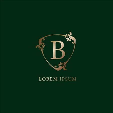 Letter B Alphabetic logo design template. Insurance logo concept. Luxury gold decorative floral shield sign illustration  isolated on dark green background.