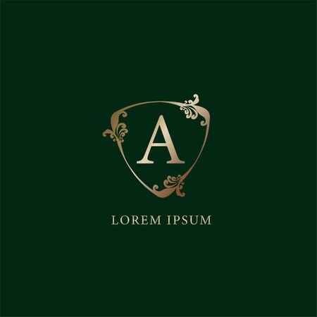 Letter A Alphabetic logo design template. Insurance logo concept isolated on dark green background. Luxury gold decorative floral shield sign illustration. 向量圖像