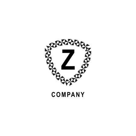 Letter Z alphabetic logo deisgn template isolated on white background. Insurance company logo concept. Geometric shield sign illustration 向量圖像