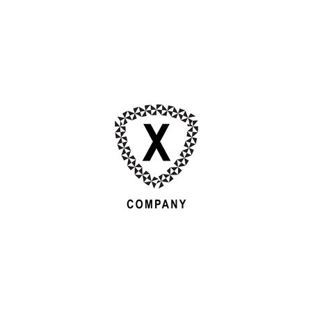 Letter X alphabetic logo deisgn template isolated on white background. Geometric shield sign illustration. Insurance company logo concept. 向量圖像