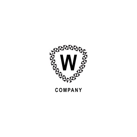 Letter W alphabetic logo deisgn template isolated on white background. Geometric shield sign illustration. Insurance company logo concept.