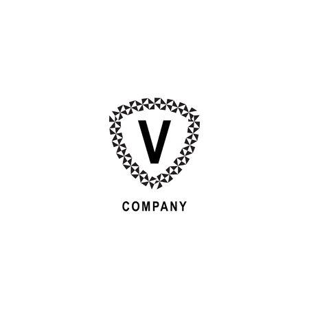 Letter V alphabetic logo deisgn template isolated on white background. Insurance company logo concept. Geometric shield sign illustration