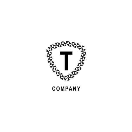 Letter T alphabetic logo deisgn template. Geometric shield sign illustration isolated on white background. Insurance company logo concept.