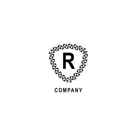 Letter R alphabetic logo deisgn template. Insurance company logo concept  isolated on white background. Geometric shield sign illustration.