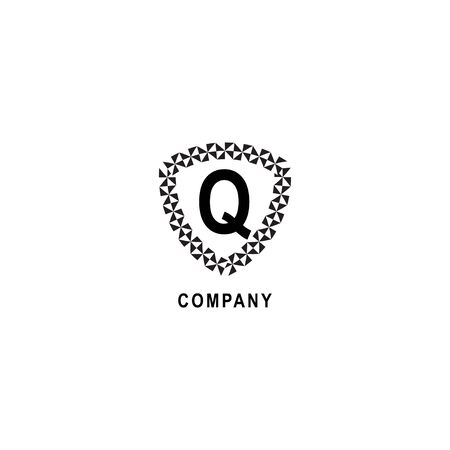 Letter Q alphabetic logo deisgn template. Insurance company logo concept  isolated on white background. Geometric shield sign illustration.
