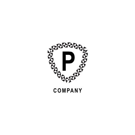 Letter P alphabetic logo deisgn template. Insurance company logo concept  isolated on white background. Geometric shield sign illustration.