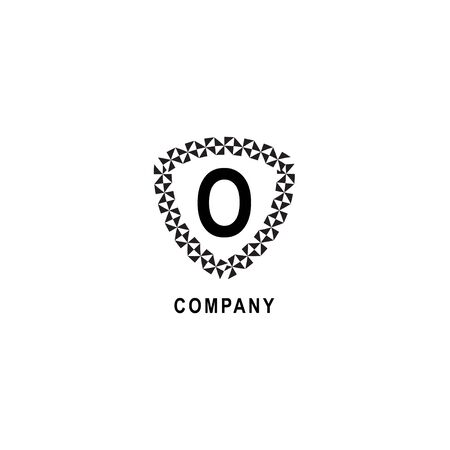 Letter O alphabetic logo deisgn template.  Geometric shield sign illustration. Insurance company logo concept  isolated on white background. 向量圖像