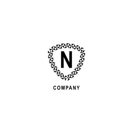 Letter N alphabetic logo deisgn template.  Geometric shield sign illustration. Insurance company logo concept  isolated on white background. 向量圖像
