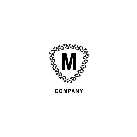 Letter M alphabetic logo deisgn template. Insurance company logo concept  isolated on white background. Geometric shield sign illustration