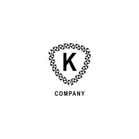 Letter K alphabetic logo deisgn template. Geometric shield sign illustration isolated on white background. Insurance company logo concept. 向量圖像
