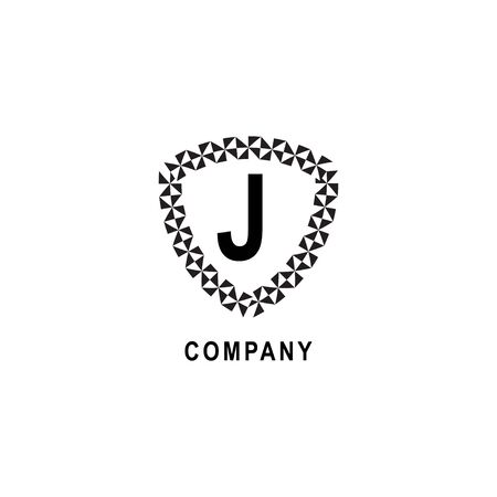 Letter J alphabetic logo deisgn template. Geometric shield sign illustration isolated on white background. Insurance company logo concept.