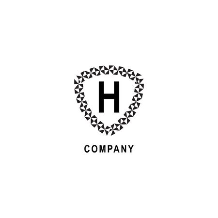 Letter H alphabetic logo deisgn template. Insurance company logo concept isolated on white background. Geometric shield sign illustration.