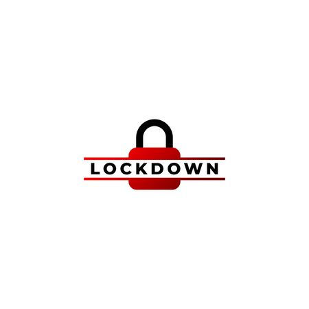 Lockdown sign illustration isolated on white background. Lock logo template. Red padlock icon Security logo concept. Protection design element.