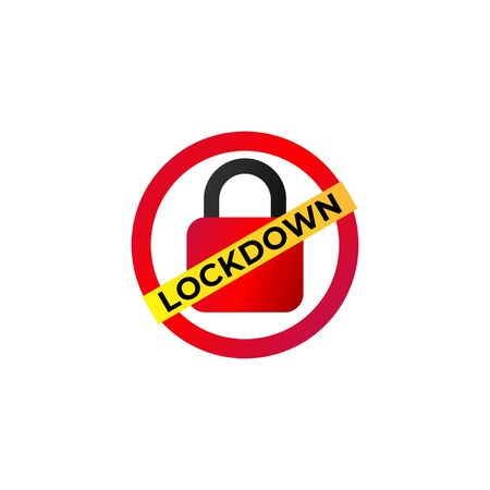 Lockdown sign illustration isolated on white background. Red padlock icon Security logo concept. Protection design element. Lock template. Red Ellipse shape with yellow diagonal label